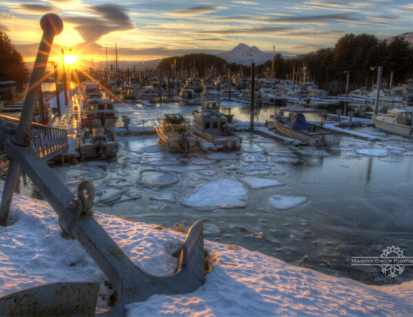 Kodiak, Alaska, harbor, snow, ice, boat, anchor, mountain, fishing, salmon, winter