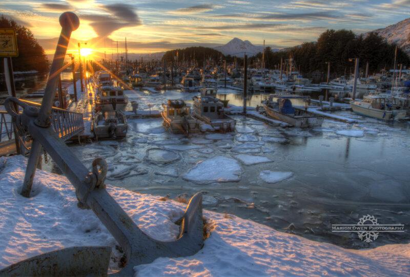 Kodiak, Alaska, harbor, snow, ice, boat, anchor, mountain, fishing, salmon, winter