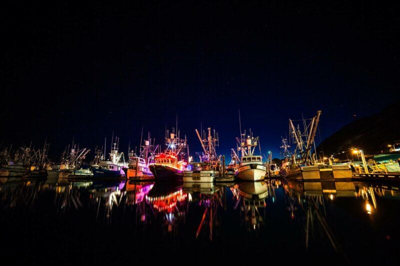 holiday, lights, boats, festival, winter, Christmas, stars, Alaska, Kodiak