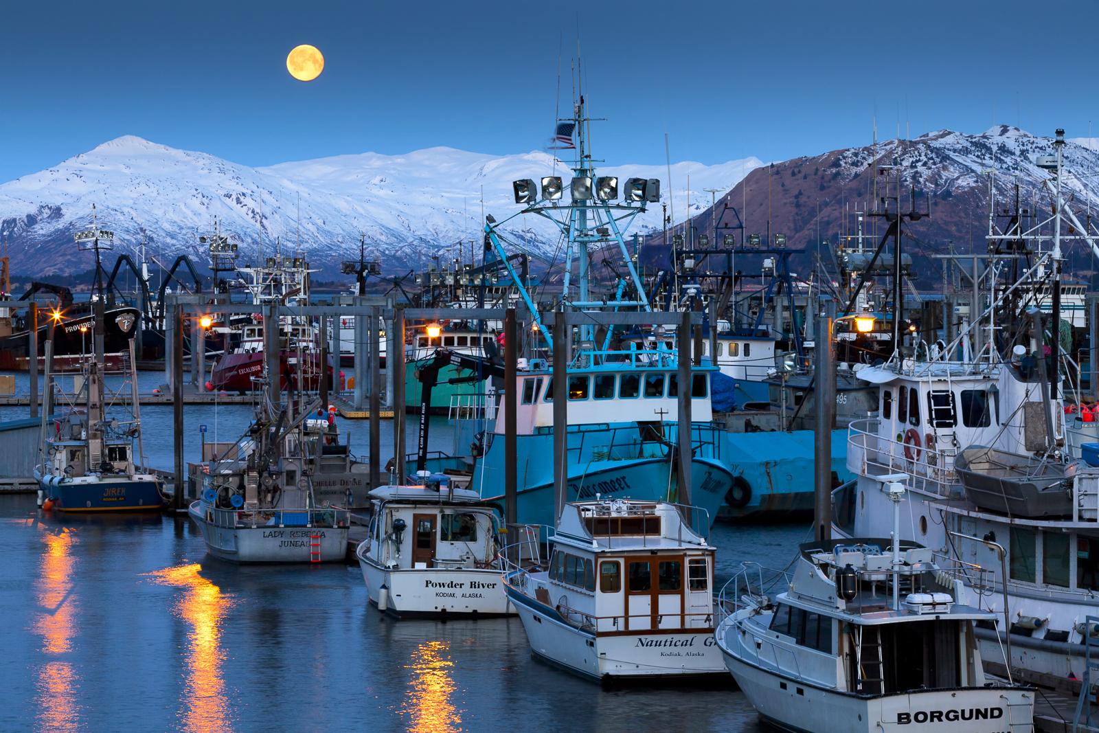 Kodiak, Alaska, moon, full moon, moonrise