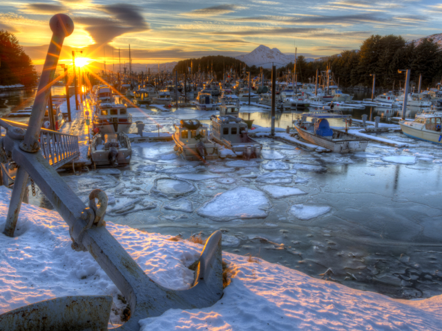 Winter, ice, water, anchor, Kodiak, Alaska, photography, photographs