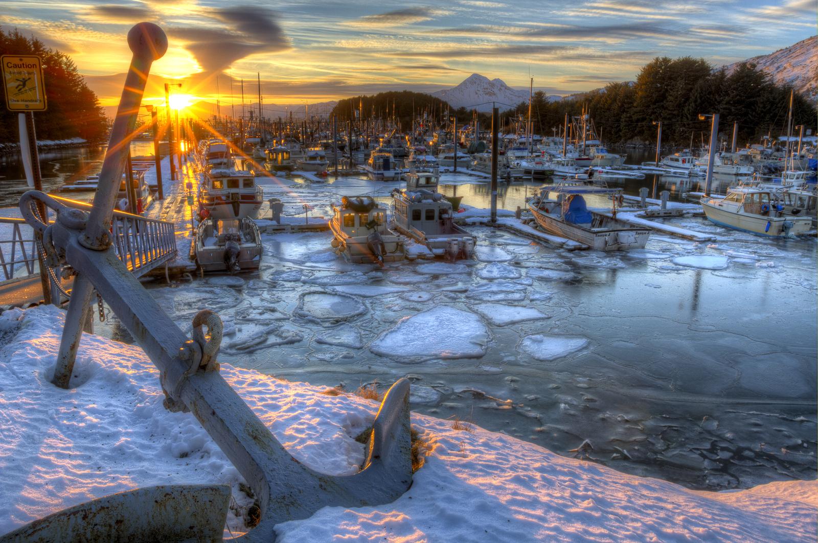 Winter, ice, water, anchor, Kodiak, Alaska