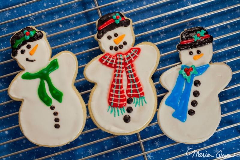 snowman, cookies, Christmas, sugar
