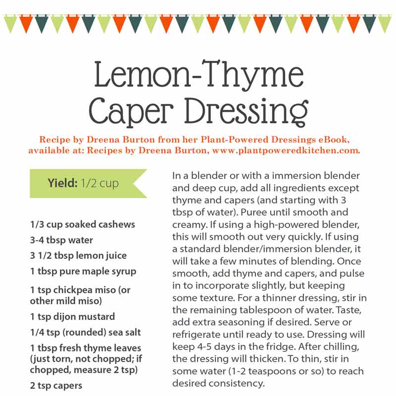 Lemon-thyme caper dressing recipe, benefits of lemon, plant-based cooking