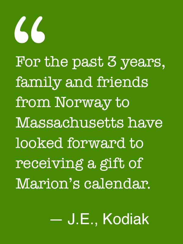 Testimonials for Marion Owen's wall calendar