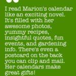 Testimonials for Marion Owen's wall calendar